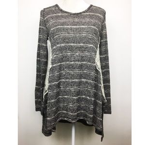 Altar'd State gray white striped light sweater